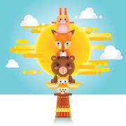Cute Animal Totem - stock illustration