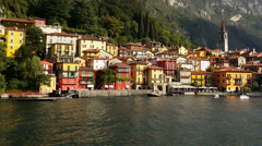 Lake Como, Varenna – Italy. Varenna village as seen by sea. Stock Footage