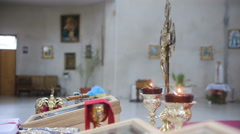 Candles in the temple on the eve of Easter Stock Footage