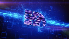 Firewall icon on abstract blue background Stock Footage