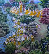 Thai mural Buddhist art Stock Photos