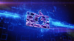 Firewall icon on abstract blue background - stock footage