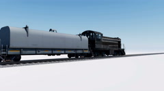 4K animation of freight cargo train passing by Stock Footage