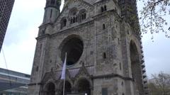 Emperor Wilhelm Memorial Church, Old Tower Ruin of, Berlin, Germany Stock Footage