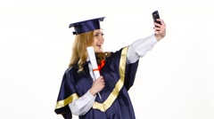Selfe photo with diploma. Graduate. White Stock Footage