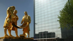 Statue of Matthew Boulton, James Watt and William Murdoch in Birmingham, England Stock Footage