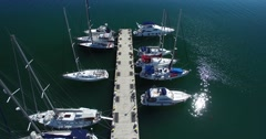 Marina with sailboats and yacht Stock Footage