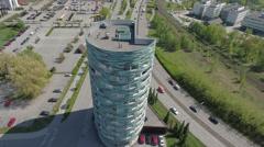 Round aparment house Skandinavia 4K aerial footage Stock Footage