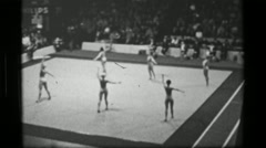 1967: East Germany Bulgaria team hula hoop (part 2 of 2) competition 3rd Women's - stock footage