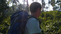 Traveler with Backpack in Forest Exploring and Inspiring for Travel - stock footage