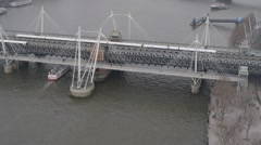 Westminster Bridge london aerial view - stock footage