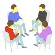 Talks. Group of business. Four people team meeting conference - stock illustration