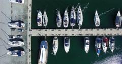 Marina with sailboats and yacht Stock Footage