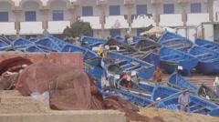 Boats fishermen morocco Stock Footage
