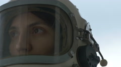 Astronaut Woman is Smiling Stock Footage