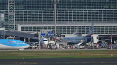 Taxiing airplane, Frankfurt airport Stock Footage