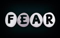 Word Fear spell out from stones with letters - stock photo