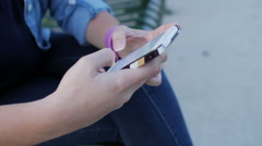 Young Girl Texting Hands Close Up - stock footage