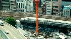 Tokyo - Aerial city view with trains passing by. Ginza. 4K resolution retro look Stock Footage