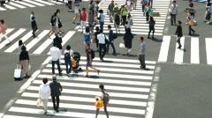 Tokyo - Aerial view of people on crosswalk. 4K resolution. Ginza Stock Footage