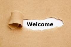 Welcome Torn Paper Concept Stock Photos