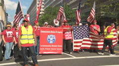 Striking Verizon workers prepare to march in Washington, D.C. Stock Footage