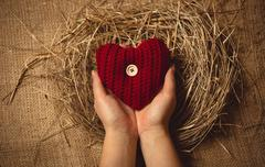woman holding red knitted heart at nest against linen background - stock photo