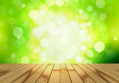 Blank wooden table and bokeh background of foliage Stock Illustration