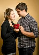 Smiling couple in love holding red heart in hands Stock Photos