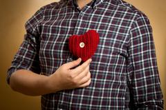 Man in shirt posing with red knitted heart Stock Photos