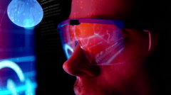 Futuristic monitor near face with code and information hologram. Future concept  Stock Footage