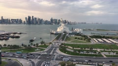 Aerial view from the Museum of Islamic Art on the Corniche Stock Footage