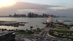 Aerial view from the Museum of Islamic Art and Doha skyline Stock Footage