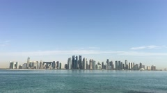 Dhow Harbour and Doha skyline in the morning Stock Footage