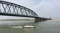Boat at the Waal river in Nijmegen The Netherlands - stock footage