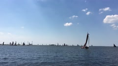 Skutsjesilen at the IJsselmeer in Lemmer Stock Footage