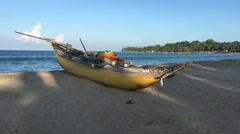 Traditional catamaran fishing boat at the beach of Arugam Bay Stock Footage