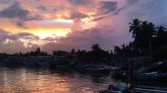 Sunrise at Mirissa harbour in Sri Lanka Stock Footage