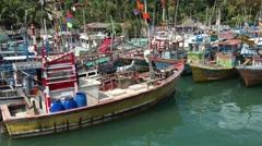 Arriving at Mirissa harbour in Sri lanka Stock Footage