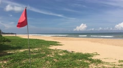 Red flag at Bentota beach Stock Footage