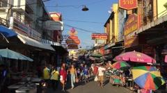 Street scene in Samut Sakhon Thailand Stock Footage