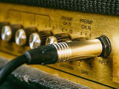 Vintage amplifier input - stock photo