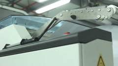 Idustrial inkjet printing machine with audio dolly shot Stock Footage
