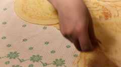 Female hands neatly folded pancakes Stock Footage