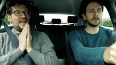 Angry men fighting in car driving 4K Stock Footage