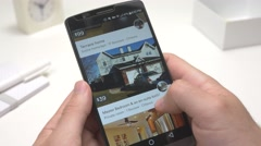 4K Room Rental Search on Smartphone - stock footage