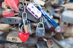 Love locks as a symbol of happy wedding Stock Photos