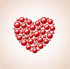 Red heart of bead Stock Illustration
