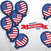 American patriotic flag balloons cut out from paper Stock Illustration