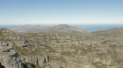 4K Rock Face Cliffs Ocean In Background Table Mountain Stock Footage